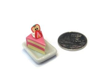 Miniature Sweet - Fake Cake cut slice - Ceramic Plate Dessert Supply Dollhouse Miniature -AM177