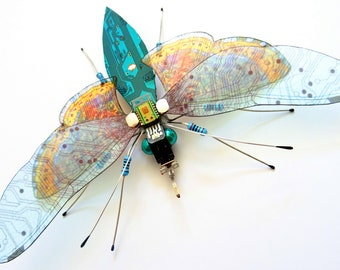 The Big Beautiful Fly, Circuit Board Insect by Julie Alice Chappell