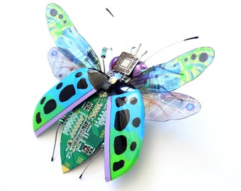 The Laser Module Bug, Fantasy Circuit Board Beetle by Julie Alice Chappell