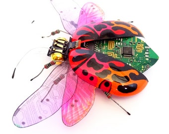 The Fire Beetle, Fantasy Circuit Board Insect by Julie Alice Chappell