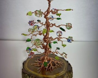 Copper Wire Bonsai with glass CHRISTMAS GIFT and green leaf Beads [GS23]
