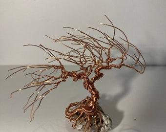 Mini WINDBLOWN Copper Wire Bonsai Tree mounted on a stone/rock [RW-2]