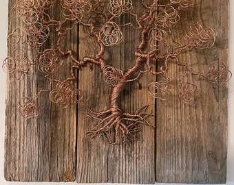LARGE Copper Wire Bonsai Tree  mounted on old, recycled barn board [NCB-1]