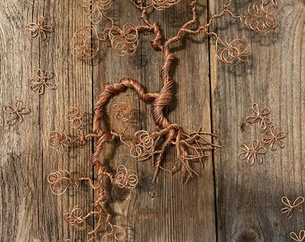 LARGE Copper Wire Bonsai Tree  mounted on old, recycled barn board [NCB-2]