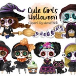 Cute girls Halloween clipart instant download PNG file - 300 dpi