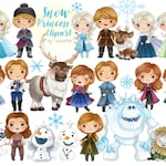 Limited big set of snow princess clipart Instant Download PNG file - 300 dpi (only sale 1 month on 27 July -  31 August )