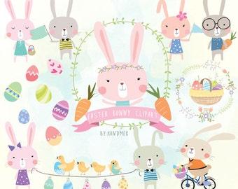 Easter Digital Clipart Set 3 Rabbit Clip Art Bunny Instant Download PNG File 300 Dpi
