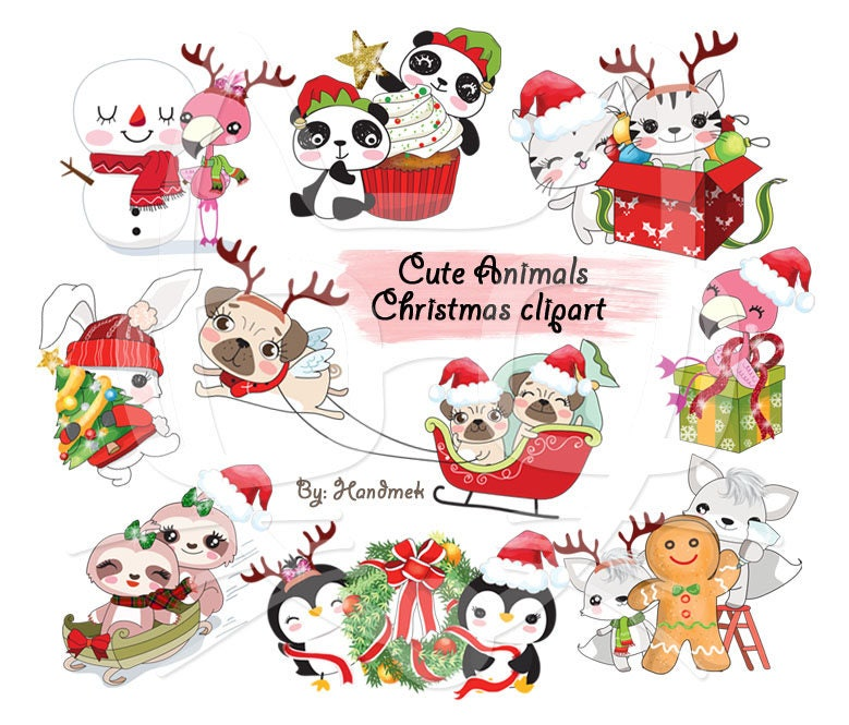 Cute Animals Christmas clipart instant download PNG file ...