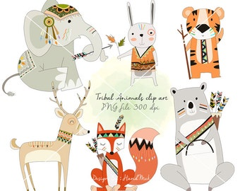 Tribal animals , Woodland Clipart ,Animals clipart Instant Download PNG file - 300 dpi