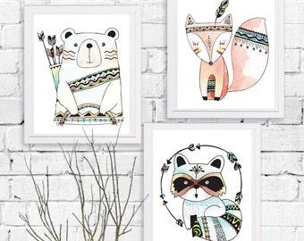 Animals tribal art Printable set 3 ,Animals Art Printable, Digital Art Printable, animal clipart, Instant Download Art