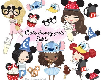 Cute disney girls set 2 Clip Art Instant Download PNG file - 300 dpi
