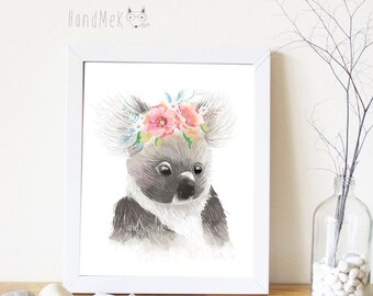 Koala Art Printable ,Animals Art Printable, Digital Art Printable, animal clipart, Instant Download Art