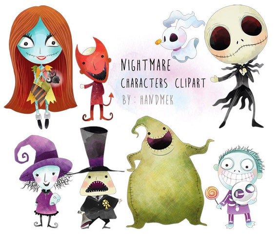 Nightmare Characters Clipart Halloween Clipart Instant Etsy