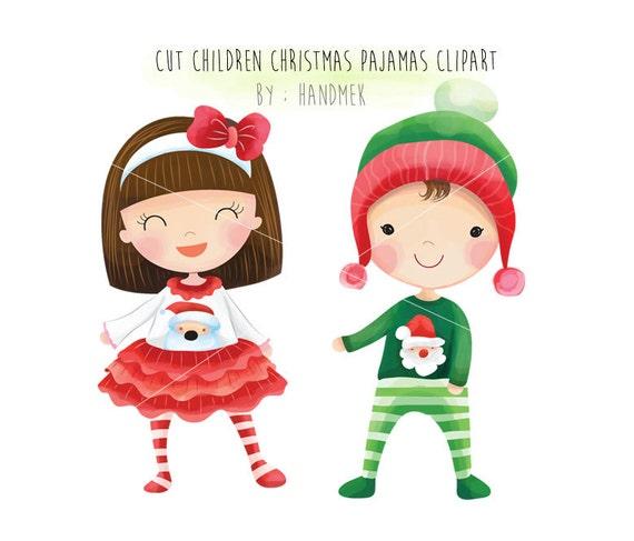 Cute Christmas.Christmas Pajamas Cute Christmas Christmas Children Clipart Instant Download Png File 300 Dpi