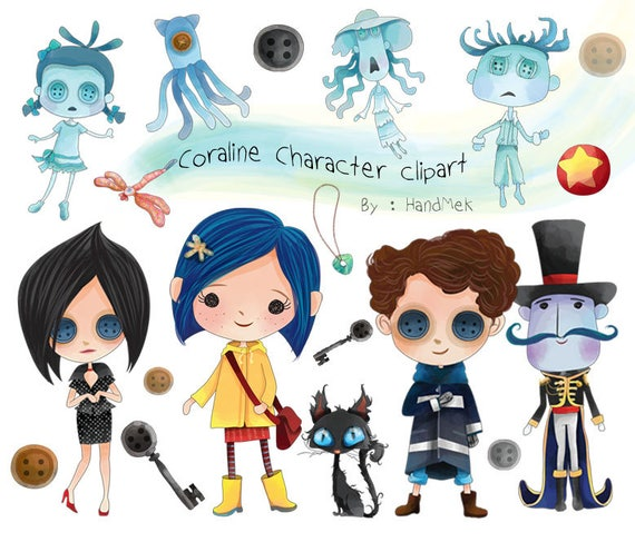 Cute Coraline Character Clipart Instant Download Png File Etsy