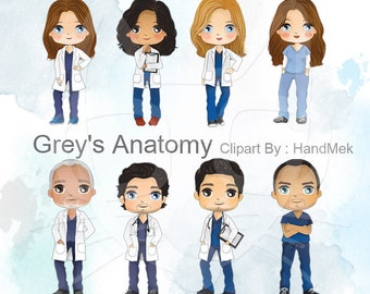 grey's anatomy character , medical people clipart, Instant Download,PNG file - 300 dpi