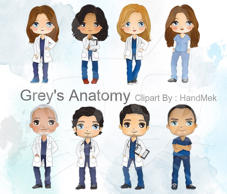 Greys Anatomie Charakter medizinische Menschen Clipart | Etsy