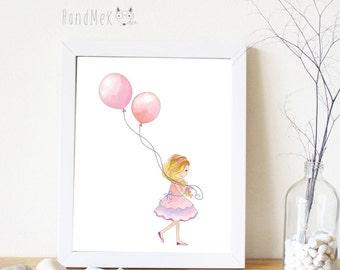 Girl and balloon Art Printable, Digital Art Printable,girl clipart, Instant Download Art