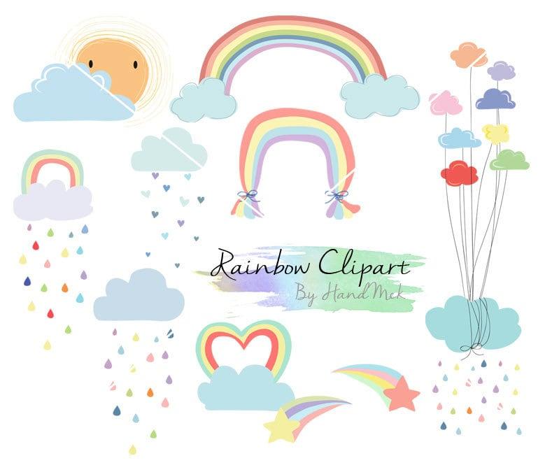 Rainbow Clip Art Rain Cloud Raindrops clipart PNG file-300 ...