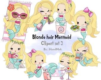 Blonde hair Mermaid Clip art set 3 , instant download PNG file - 300 dpi
