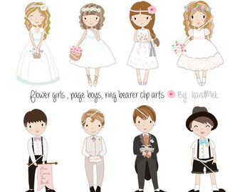 Page boys, flower girls, ring bearers clip art PNG, JPEG file-300 dpi