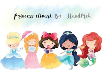 Cute princess clipart set 1 : Instant Download PNG file - 300 dpi