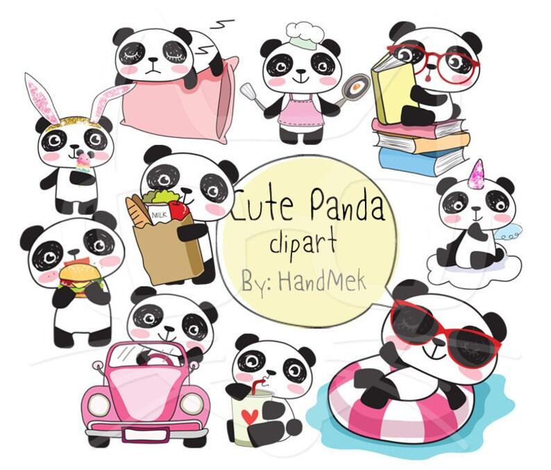 Cute PANDA Kawaii Panda clipart instant download PNG file ...