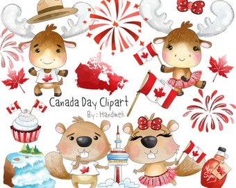 Canada Day clipart Instant Download PNG file - 300 dpi