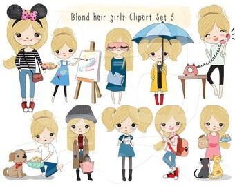 Blonde hair girl Clip art set 5 , instant download PNG file - 300 dpi