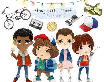 Cute Stranger kids characters set 1 clipart, Instant Download,PNG file - 300 dpi