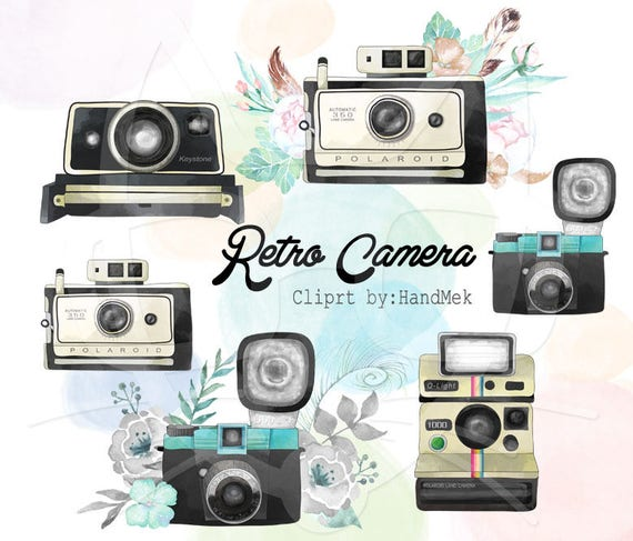 Retro Camera Water Color Clipart Instant Download PNG