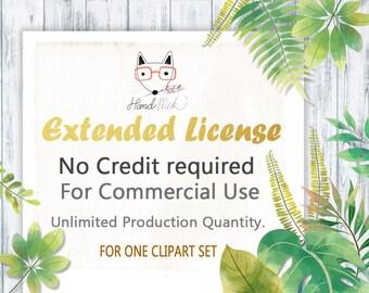 No-Credit Commercial License 1 Clipart Set Unlimited Production Quantity.