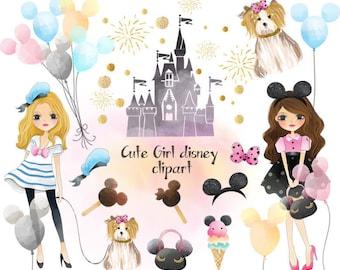 Cute disney girls , Fashion Girl Clip Art Instant Download PNG file - 300 dpi