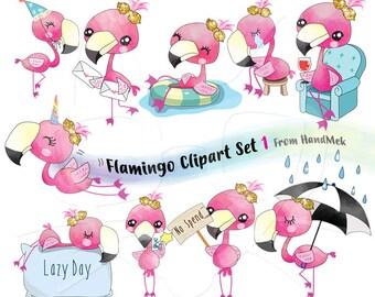 Flamingo clipart set 1 instant download PNG file - 300 dpi