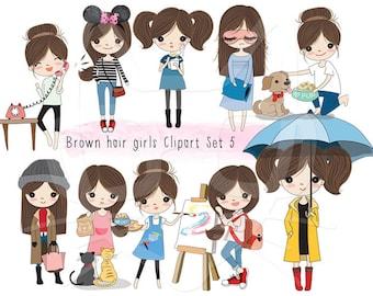 Brown hair girl Clip art set 5 , instant download PNG file - 300 dpi