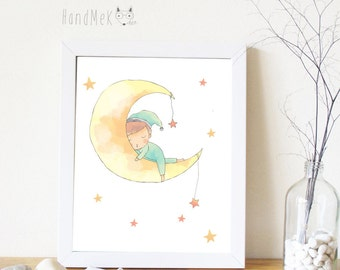 Cute boy Art Printable, Digital Art Printable, boy clipart, Instant Download Art