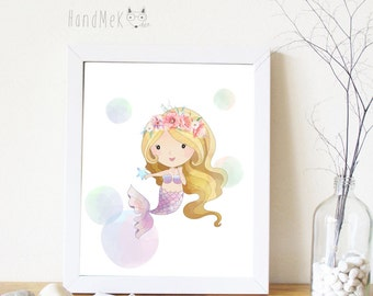 Mermaid Art Printable, Digital Art Printable,girl clipart, Instant Download Art