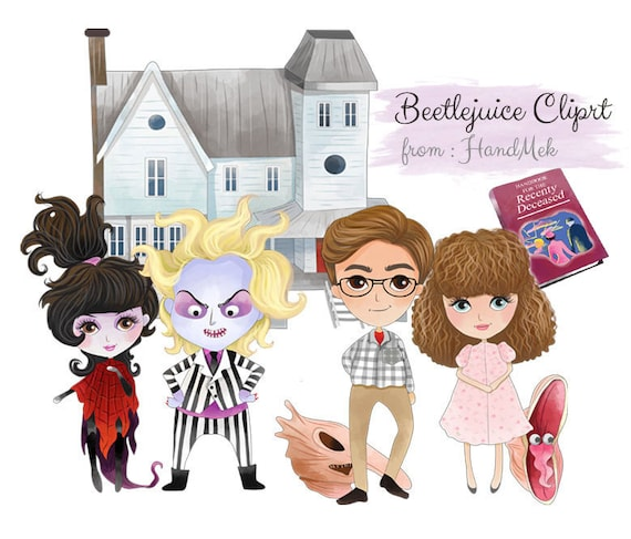 Beetlejuice Characters Clipart Halloween Clipart Instant Etsy