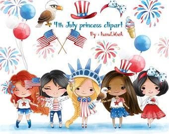 4th July Princess inspiration clipart  Instant Download PNG file - 300 dpi