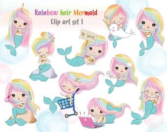 Rainbow hair Mermaid Clip art set 1 , instant download PNG file - 300 dpi
