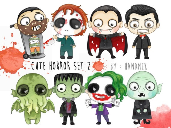 Cute Horror Set 2 Halloween Clipart Instant Download Png Etsy