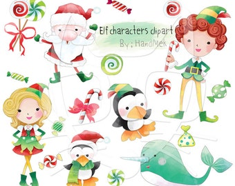 Elf characters clipart, Christmas Clipart Instant Download,PNG file - 300 dpi