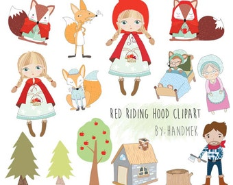 Cute Red Riding Hood  Clipart,  PNG file-300 dpi