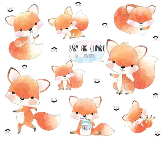 Baby Fox Cute Fox Clip Art Instant Download Png File 300 Etsy