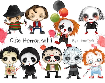 Cute Horror set 1 ,Halloween Clipart, Instant Download PNG file - 300 dpi