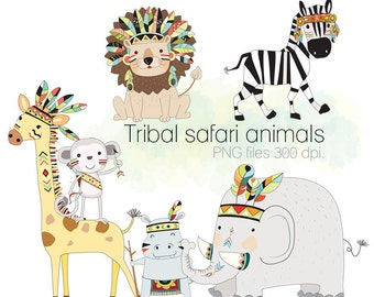 Safari animals clipart, Tribal animals , Woodland Clipart, Instant Download PNG file - 300 dpi