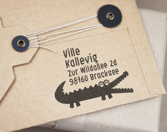Address stamp small with pusteblume waydig to 4 lines