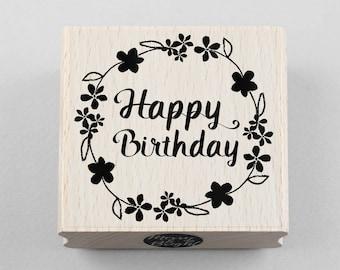 Rubber Stamp Happy Birthday 6 x 6 cm