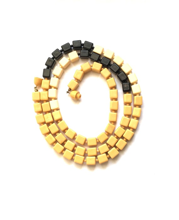 Art Deco Celluloid Long Cubic Necklace 1930s 1940s