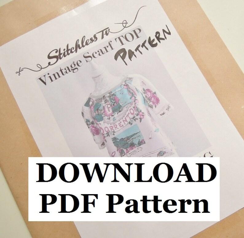 Download PDF Pattern for Raglan Sleeve Vintage Scarf Top image 0